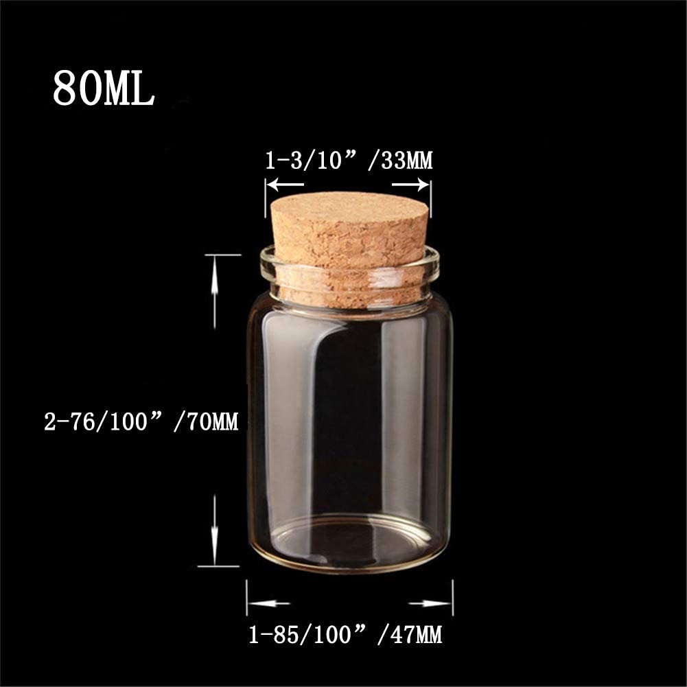 vidrio 50 ml Cristal transparente. Jarvials 6pcs24pcs di/ámetro exterior 47 mm cuatro tipos diferentes de botellas transparentes con corcho
