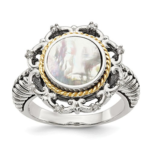 14k Mop Diamond Band Ring Size 6.00 Pearl Shell Fine Jewelry For Women Gift Set ()