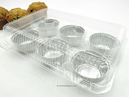 6 Cell Clear Locking Hinged Large Cupcake/Muffin and Bakery Containers #CPC-76 (150) by Inline Plastics (Image #2)