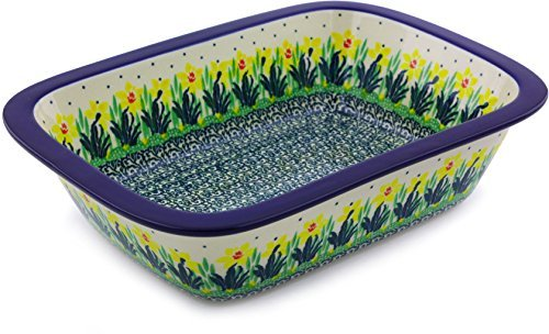 Polish Pottery 9¾-inch Rectangular Baker made by Ceramika Artystyczna + Certificate of Authenticity (Summer Meadow Theme)