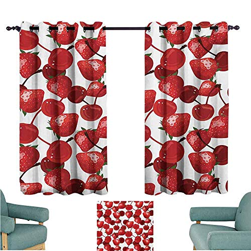 DONEECKL Warm Curtain Red Strawberries and Cherries Spring Fruits Organic Food and Picnic Image Blackout Draperies for Bedroom Living Room W63 xL72 Burgundy Green and White ()