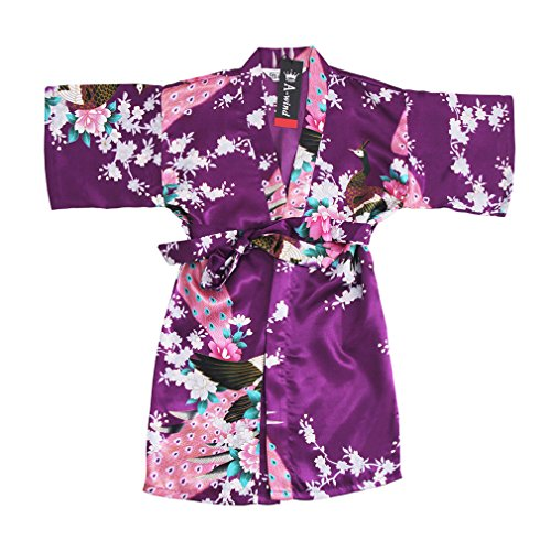 Awind Girls' Satin Kimono Wrap Robe Flower For Spa Party Christmas Dark Purple (Girl Kimono Set)