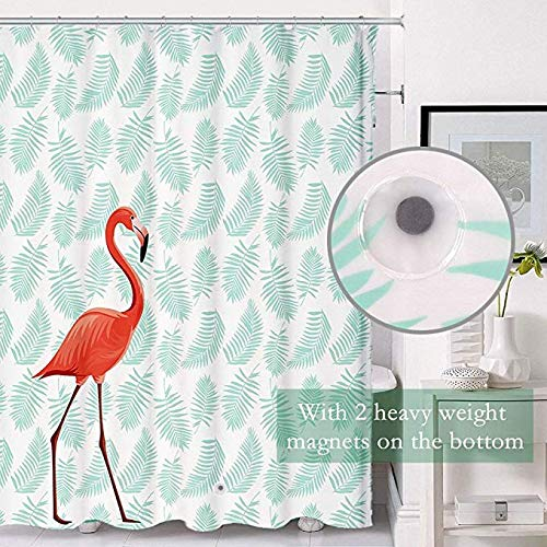 Uphome PEVA Bathroom Shower Curtain Tropical Pink Flamingo With Leaves Pattern