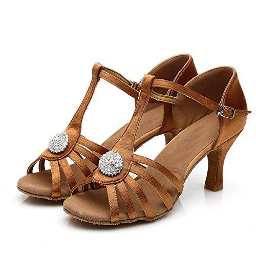 Delle Ragazza Superiore Donne Med altri Scarpe 39 Professionista Shoe Latino Ballroom Della Dance brown Colori Salsa Satin Sandali SIwpx8pq