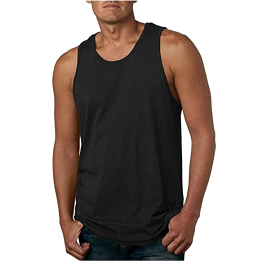 6f60e94121efa WUAI Mens Essential Workout Tank Tops Casual Muscle Bodybuilding Plus Size  Fitness T-Shirts (