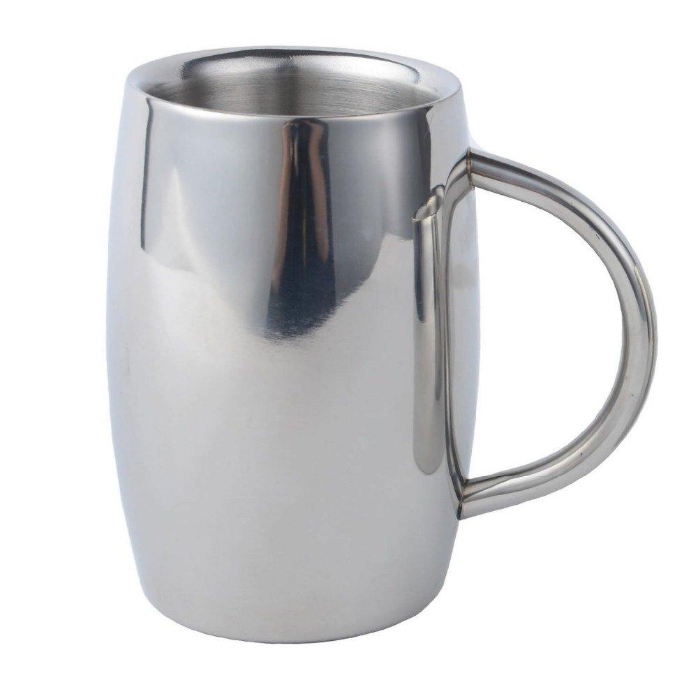 Beer Mug, Isenretail Stainless Steel Tea/Beer/Coffee/Latte Cup, Double-wall Design with 400 ML Large Capacity IH58021