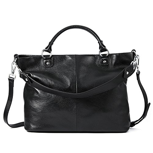 Kattee Women's Soft Genuine Leather Tote Bag, Top Satchel Purses and Handbags Black