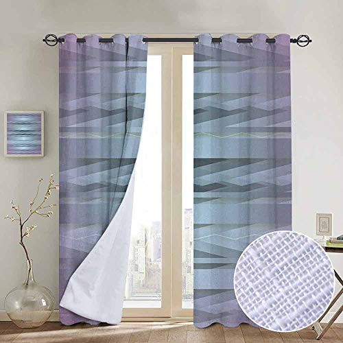 NUOMANAN Room Darkening Wide Curtains Modern,Gradient Toned Zig Zag Retro 80s Party Style Fragmented Stripes Graphic Artwork,Lilac Blue,Light Blocking Drapes with Liner 84