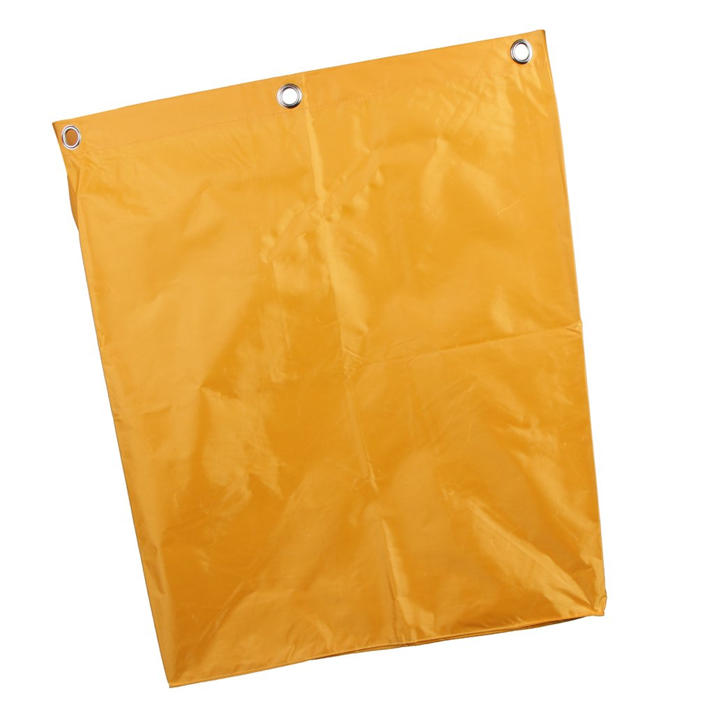 Baoblaze Replacement Waterproof Nylon Bag for Janitor Cleaning Cart, X-Shape Linen Truck, Laundry Basket Bags, Home or Hotel Use-Yellow