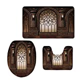 iPrint Fashion 3D Baseball Printed,Gothic,Antique Myst Gate with Oriental Islamic Pattern and Curvings Artistic Design Illustration,Brown,U-Shaped Toilet Mat+Area Rug+Toilet Lid Covers 3PCS/Set