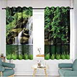 ETHEEKA Kids Curtains,Waterfall,Great for Living Rooms & Bedrooms,W63x72L,Green