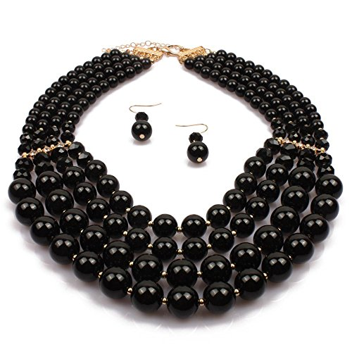 Simulated Faux Pearl Five Multi-Strand Statement Necklace and Earrings Set For Women (Black)