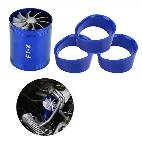 Amazon.com: Qiilu Aluminum Car Air Intake Turbonator Dual Fan Turbine Super Charger Gas Fuel Saver Turbo(Blue): Automotive