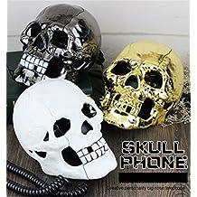 TeeNoke New Cool Skeleton Skull Shape Novelty Wired Telephone with Led Eyes Home Office Decoration(Color Random)