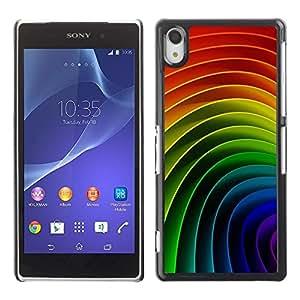 Be Good Phone Accessory // Dura Cáscara cubierta Protectora Caso Carcasa Funda de Protección para Sony Xperia Z2 D6502 D6503 D6543 L50t L50u // Pattern Stripes Curved Colors