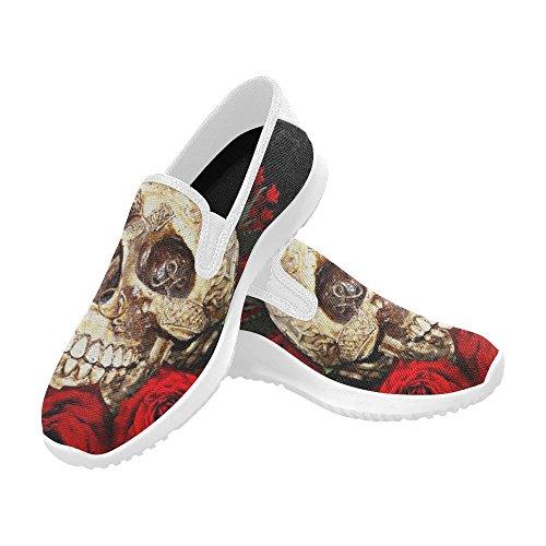 Scarpe Da D-story Moda Donna Slip-on Sneakers In Tela Teschio Rosa