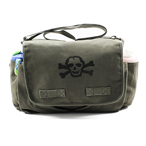 Heavyweight Carry-All Messenger Diaper Bag in Olive with A Black Scribble Skull by Crazy Baby Clothing