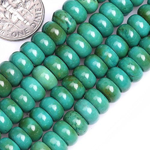 GEM-inside Old Turquoise Gemstone Loose Beads Dyed Energy Power Beads For Jewelry Making Roundelle 4X8mm - Roundelle Turquoise