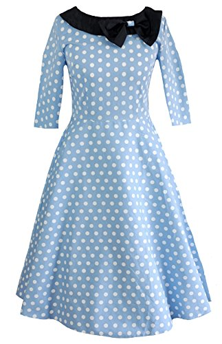 Pastel Azul 3 Lunares Mujer Vintage Para Vestido Moon 4 Manga Milk 7CqRwgFaZ1