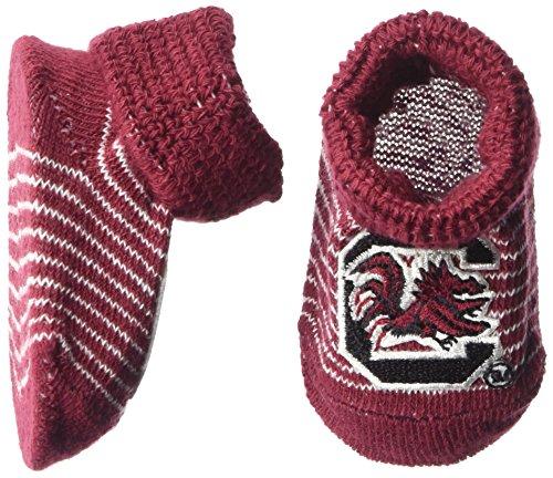 NCAA South Carolina Fighting Gamecocks Infant Stripe Gift Box Booties, New Born, Crimson/White