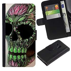 Stuss Case / Funda Carcasa PU de Cuero - Verde Rosa Cráneo floral de la primavera de la Muerte - Samsung Galaxy S3 MINI 8190