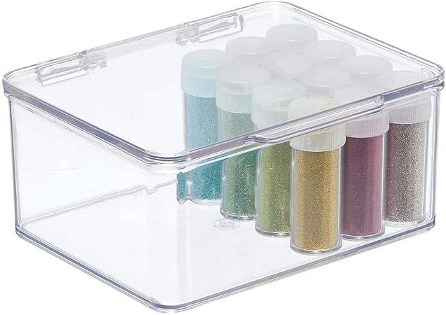 mDesign Caja con tapadera de plastico Transparente – Ideal como Organizador de Escritorio, costurero o para Material de Manualidades – Cajas de almacenaje apilables – Tamaño pequeño: Amazon.es: Hogar