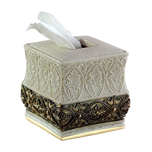 (HEMFV Creative Square Tissue Box Cover - Decorative Tissue Holder is Beautiful Vintage Resin Tissue Box (Color : Gold))