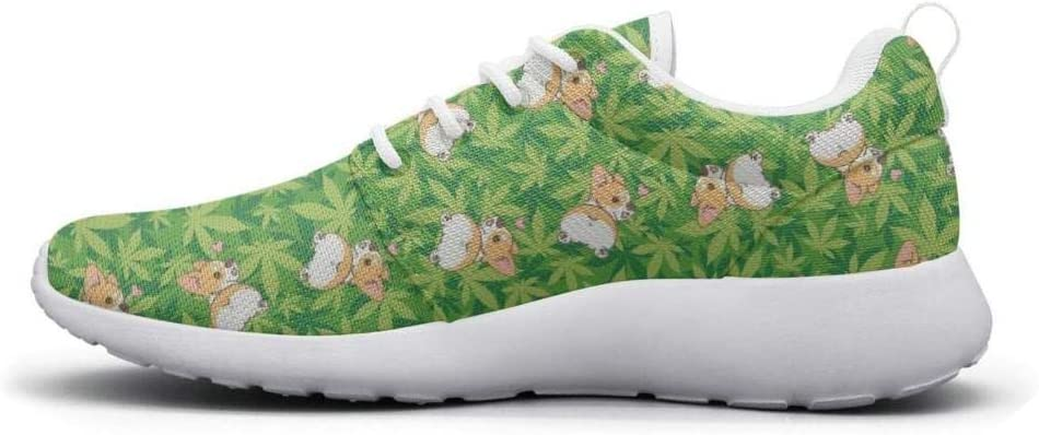 Eoyles gy Green Cannabis Leaf Womens Slip Resistant Lightweight Running Sports Shoes