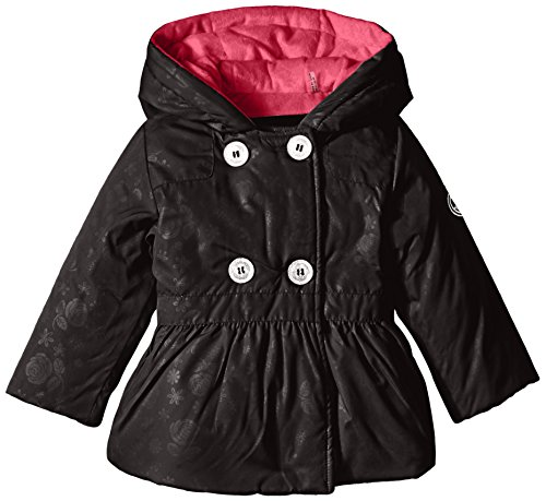 Steve Madden Baby-Girls Infant Double Breasted Polyfill Hooded Jacket, Black, 24 Months