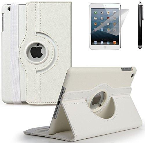 GPCT Apple iPad Mini, iPad Mini 2, iPad Mini 3, 360° Rotating Stand Luxury Leather Smart Cover Case W/ Auto Sleep & Wake Feature- (White)