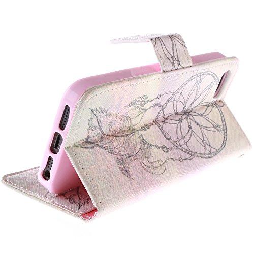 MCHSHOP(TM) verschiedene Muster Book-Style Handgemachtes Schutzhülle PU Leder Tasche Flip Wallet Ledertasche Hülle für Iphone 5 5S Kartenfächern & Standfunktion - 1 Touch pen Frei campanula tanzen mit