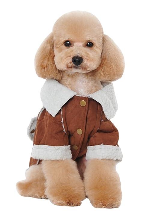 VIVI oso perro cálido abrigo dos agujeros de pierna cachorro chaqueta de lana chaqueta de protección ...