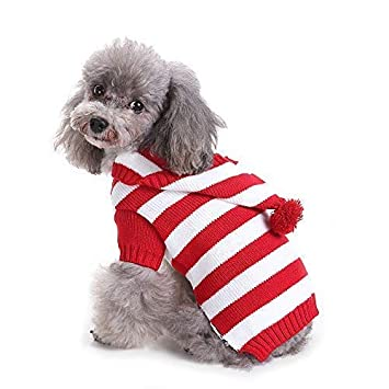Yunison Dog Cat Stripe Sweater with Hoodie for Christmas Sweatshirt Winter Pet  Clothes Xmas Puppy Outfits - Amazon.com : Yunison Dog Cat Stripe Sweater With Hoodie For