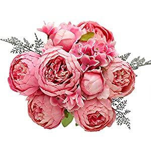 Luyue Vintage Artificial Peony Silk Flowers Bouquet Home Wedding Decoration (Spring Rose Pink)
