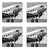 Ambesonne Vintage Airplane Coaster Set of Four, Old