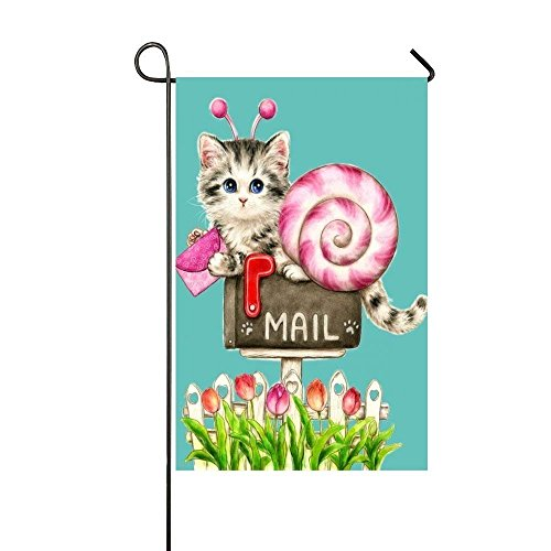 Pink Cat Snail Post The Love Mail Garden Flag - Double Sided