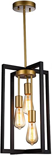 JINZO 3-Light Rectangle Chandelier Black and Gold Farmhouse Pendant Lighting with Rustic Style Industiral Metallic Pendant Lighting Modern Linear Metal Hanging Pendant Light Fixture
