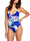 ZITY Women's Floral Print V Neck High Cut Pad One Piece Swimwear Swimsuit Blue M