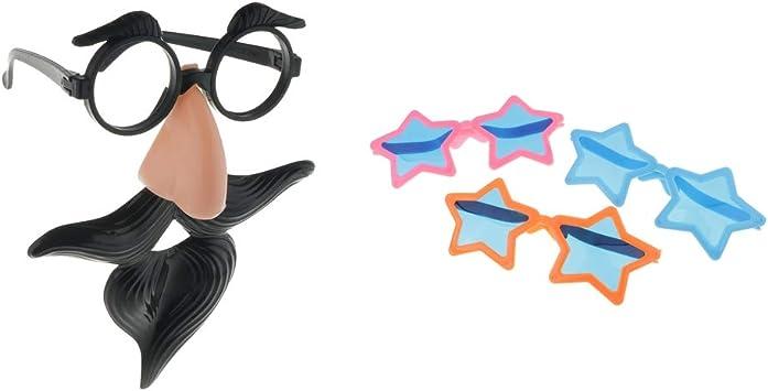 IPOTCH 2 Tipos Bigote Nariz Gafas Disfraces Lentes de Fiestas ...