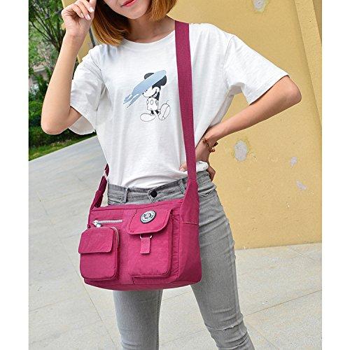 Outreo Mujer Bolsos de Moda Bolso Bandolera Bolsas de Viaje Escolares Impermeable Bolsos Baratos Mano Sport para Tablet Messenger Bag Nylon Azul One