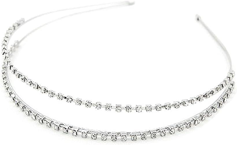 Bigboba argento cristallo fascia stretta laterale doppia fila strass fasce per capelli per donne e ragazze