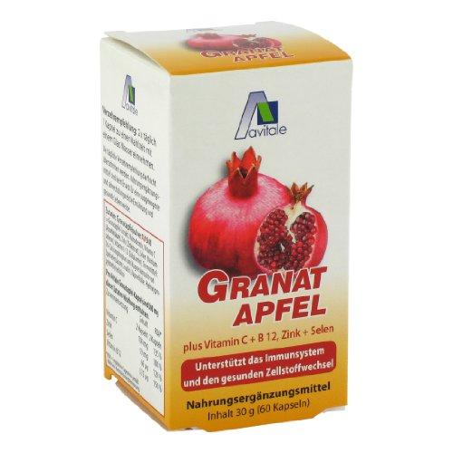 Avitale Granatapfel 500 mg plus Vit.C + B12 + Zink + Selen, 60 Stück,  1er Pack (1 x 36 g)