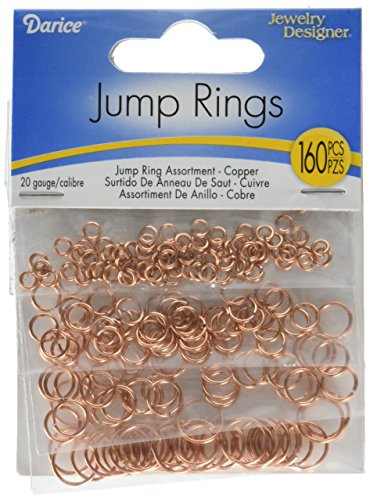 Darice BF1051 Copper Open Jump Rings - 20 Gauge - Assorted Sizes - 160 Pieces -