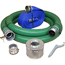 "JGB Enterprises Eagle Hose PVC/Aluminum Water/Trash Pump Hose Kit, 3"" Green Suction Hose Coupled C x KCN, 3"" Blue Discharge Hose Coupled M x F WS, 29 Vacuum Rating, 70 PSI Maximum Temperature, 50' Length, 3 ID"