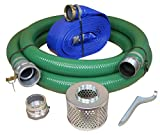 "JGB Enterprises Eagle Hose PVC/Aluminum Water/Trash Pump Hose Kit, 3"" Green Suction Hose Coupled C x KCN, 3"" Blue Discharge Hose Coupled M x F WS, 29 Vacuum Rating, 70 PSI Maximum Temperature, 50' Length, 3 ID"