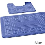 Bath mat set 2 pc non slip rubber pedestal mat toilet bathroom greek rug new (Blue) by Gaveno Cavailia