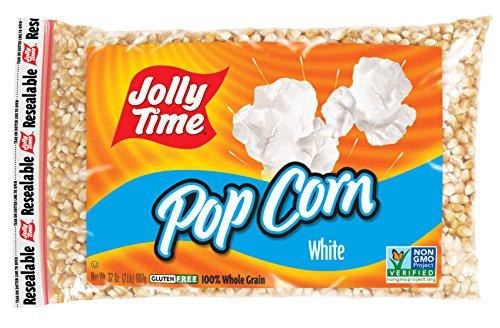 Jolly Time White Popcorn Kernels - Bulk Stovetop Natural Popping Corn, 2 lb. Bags (Pack of 12) - White Popping Corn