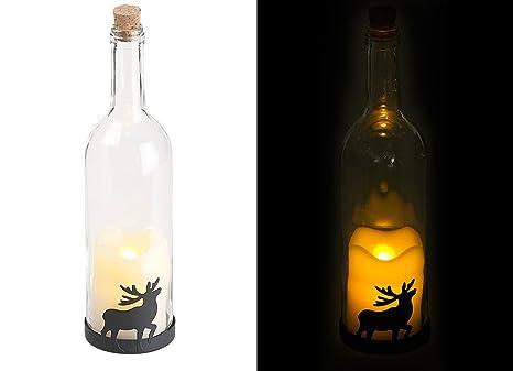 Lunartec Flaschen Licht Deko Glasflasche Mit Led Kerze Bewegliche