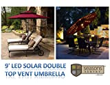 9' LED Solar Market Double-Top Vent Umbrella in BURGUNDY with 52 White LED Lights & Rechargeable Solar Panel