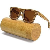 BEWELL Wooden Sungalsses Polarized Lenses UV400 Handmade Zebra Wood Eyewear for Men